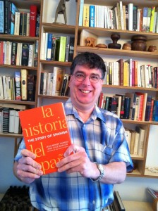 Jean-Benoît Nadeau holding his first published copy of The Story of Spanish
