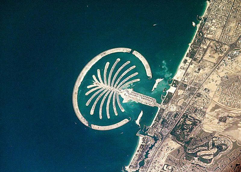 L'archipel artificiel de Palm Jumeirah, à Dubaï. ©NASA