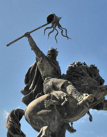 Statut équestre de Guillaume le Conquérant, à Falaise, dans le Calvados. Photo: Viault CC